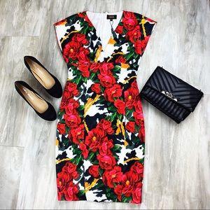NWT Alexia Admor Deep V Red Floral Dress Size 6